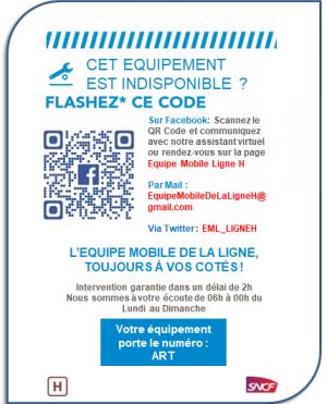 L'affichette d'information sur le service de signalement d'un équipement indisponible