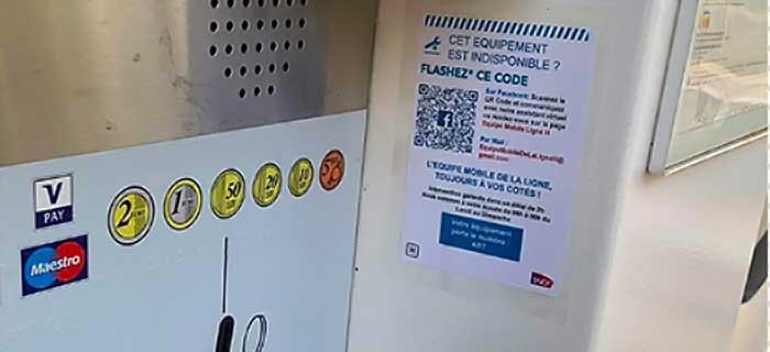 Affichette du service de signalement collée sur un automate de vente