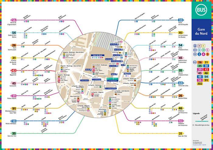 Plan des bus à Gare du Nord